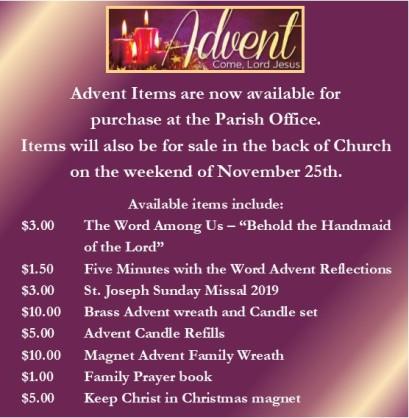 advent items prices